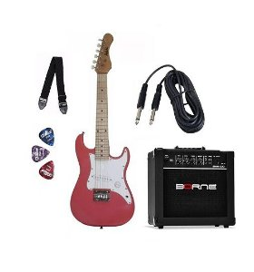 Kit Guitarra Infantil Dolphin Rosa Strato Caixa Correia