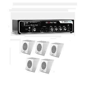 Kit Som Ambiente Borne Rc5000 Blue Usb + 5 Caixas Acústicas