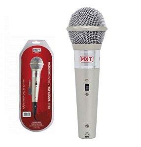 Microfone Com Fio Karaokê MXT Plástico Prata 3 Metros