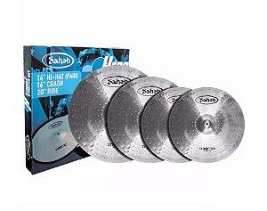 """Kit Set Pratos P/ Bateria 14"""" Hi Hat 16"""" 20"""" Aço Escovado"""