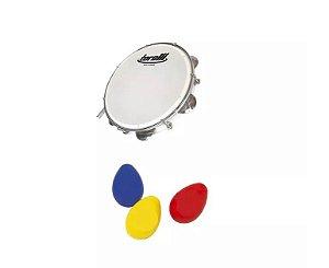 Kit Pandeiro Torelli Pele Leitosa TP309 Percussão + 3 Ovinhos