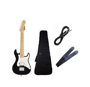 Kit Guitarra Infantil Phx Preto JR Capa Luxo Correia Cabo