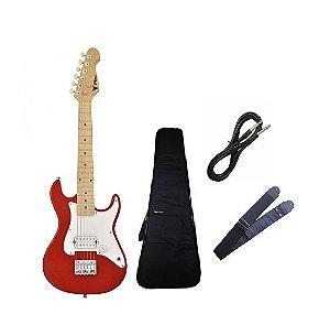 Kit Guitarra Infantil Phx Vermelho + Capa Luxo Correia Cabo