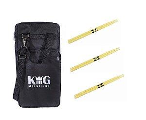 Bag Porta Baquetas Luxo Estojo Alça Baterista + 3 Baquetas