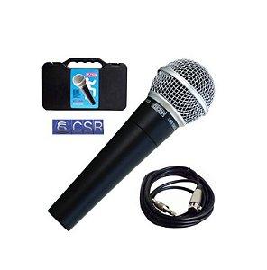 Microfone Com Fio Mão Dinâmico CSR HT58A Com Maleta