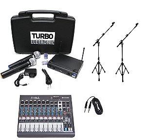 Kit Microfone S/ Fio Mesa de Som 10 Canais 2 Pedestais Cabo