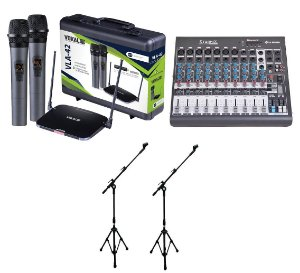 Kit Microfone Sem Fio UHF Vokal Mesa de Som 10C Pedestais
