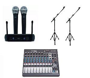 Kit Microfone Sem Fio MXT Mesa De Som 10 Canais 2 Pedestais