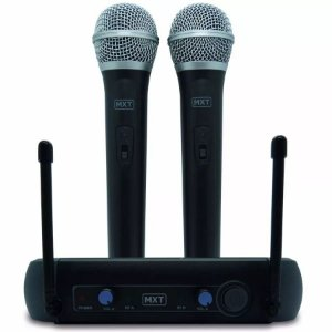 Microfone Sem Fio Duplo de Mão UHF 202 Profissional MXT