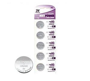 Kit 100 Bateria Lithium CR2032 MXT 20 Cartelas Pilha Moeda