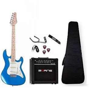Kit Guitarra Strinberg Azul STS100 Cabo Caixa Alça Suporte