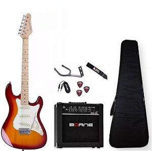 Kit Guitarra Strinberg Sts100 Cs Caixa Capa Correia Cabo