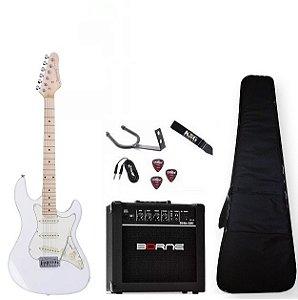 Kit Guitarra Strinberg Branca STS100 Caixa Capa Correia Cabo