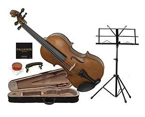 Kit Violino Dominante 4/4 Partitura Case Afinador Corda Breu