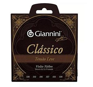 Encordoamento Violão Nylon Giannini Tensão Leve Prateado