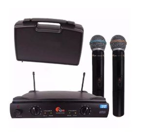 Microfone Sem Fio Duplo UHF Kadosh K-402 Wireless Maleta