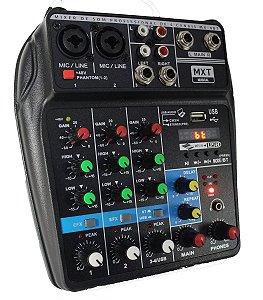 Mesa de Som 2 Canais Phantom Power Bluetooth Delay Placa