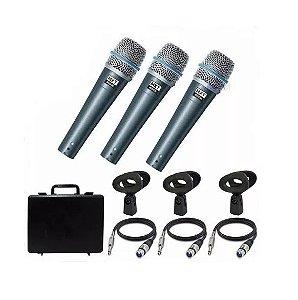 Kit 3 Microfones Com Fio Profissional Maleta Cabos Cachimbo