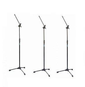 Pedestal de Microfone Regulável ASK Com Cachimbo 3 Unidades