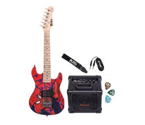 Kit Guitarra Infantil Spider Caixa Multiuso USB Cabo Alça
