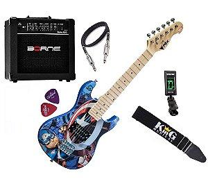 Kit Guitarra Infantil PHX Capitão América Cabo Cubo Afinador