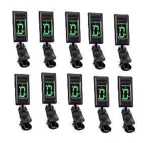 Kit 10 Afinador Digital Cromático Em Clip Para Violão