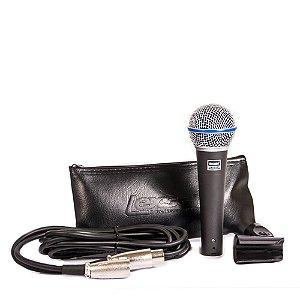 Microfone Com Fio Lexsen LMB58A SuperCardioide Cabo 3M