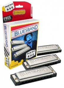 Kit com 3 Gaitas Harmônicas Hohner Blues Band 559/20 A C G