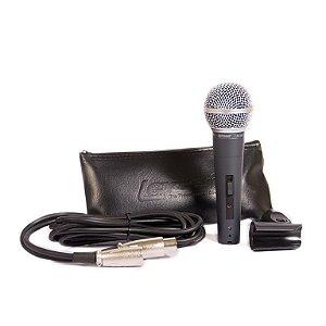 Microfone Com Fio Lexsen Cardioide LM58S Com Cachimbo Cabo