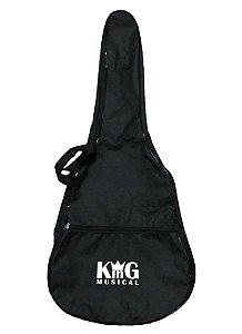 Capa para Violão Folk KING MUSICAL Simples Preto