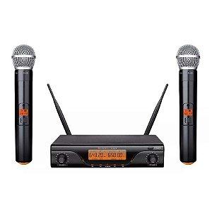 Microfone UHF Sem Fio Duplo Kadosh K-412M Profissional