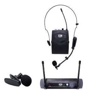 Microfone UHF Sem Fio MXT Headset Lapela UHF-10BP