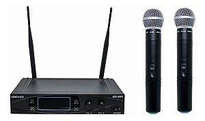 Microfone Sem Fio Duplo UHF Devox DX-580 Com Case