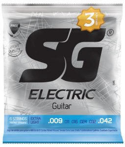 Encordoamento Corda SG 009 Niquel Para Guitarra Pacote Com 3