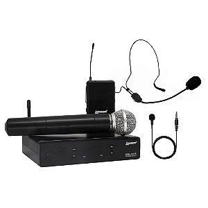 Kit Microfone UHF 2 canais de frequencia fixa XSL 503 Lexsen