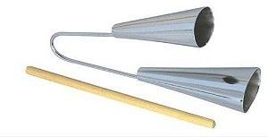 Agogo de Aluminio Cromado Duplo Médio Com Baqueta Torelli TO015
