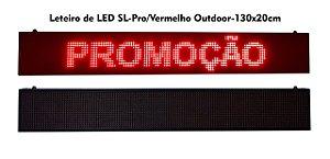 Painel de Led Vermelho Letreiro Luminoso SL1323 USB 130X20