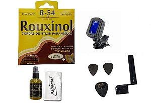 Kit Acessórios Violão Nylon Rouxinol R54 Limpa Cordas