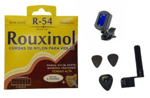 Kit Acessórios Violão Nylon Rouxinol R54 Porta Palheta