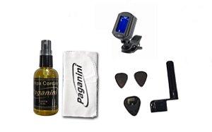 Kit Acessórios Para Violão Nylon Palhetas Limpa Cordas