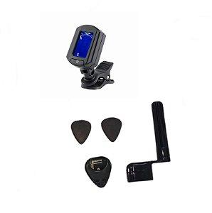 Kit Acessórios Para Violão Nylon Encordoador Afinador