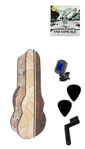 Estojo Case Luxo Cavaco Afinador Corda Palheta Encordoador