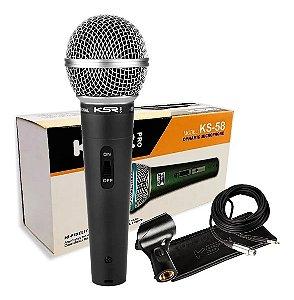 Microfone com Fio KSR KS58 com Cabo Bag  e Cachimbo