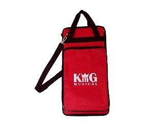 Bag Porta Baquetas Luxo Alba Estojo Alça Semi Case Vermelha