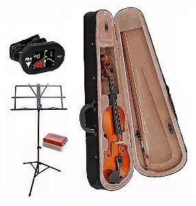 Kit Violino Completo 4/4 Case Partitura Afinador Arco E Breu
