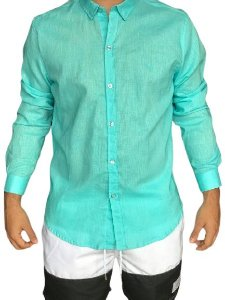 Camisa CATFISH Linho ML Azul