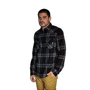 Camisa ACOSTAMENTO Xadrez Preto com Listras