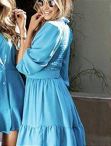 Vestido Lastex Com Cinto Coe Azul