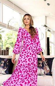 Vestido Crepe  Rosa Longo