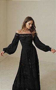 vestido Longo de crepe com lurex com detalhe ombro a ombro